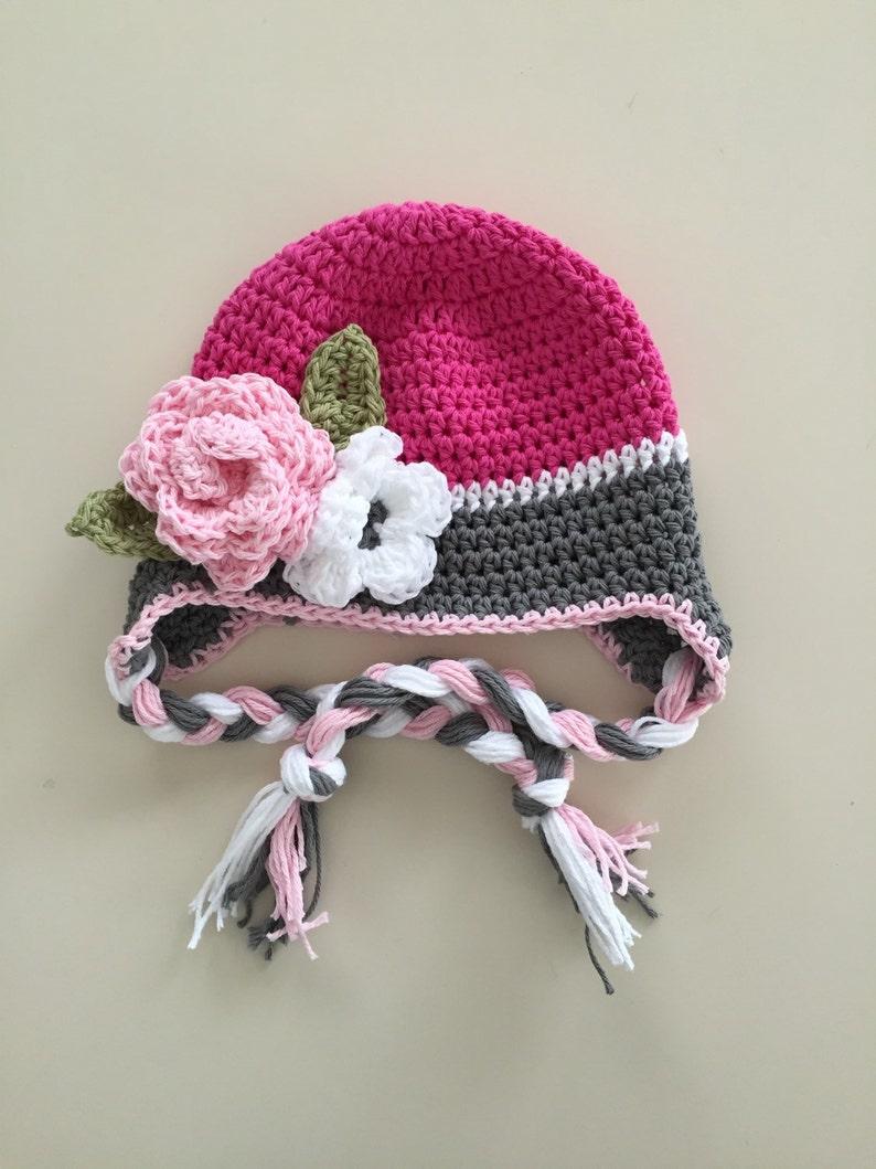 703518b18d217 Baby winter hat, crochet earflap hat, girls winter hat, toddler winter hat,  photography prop, pink winter hat, newborn photo prop