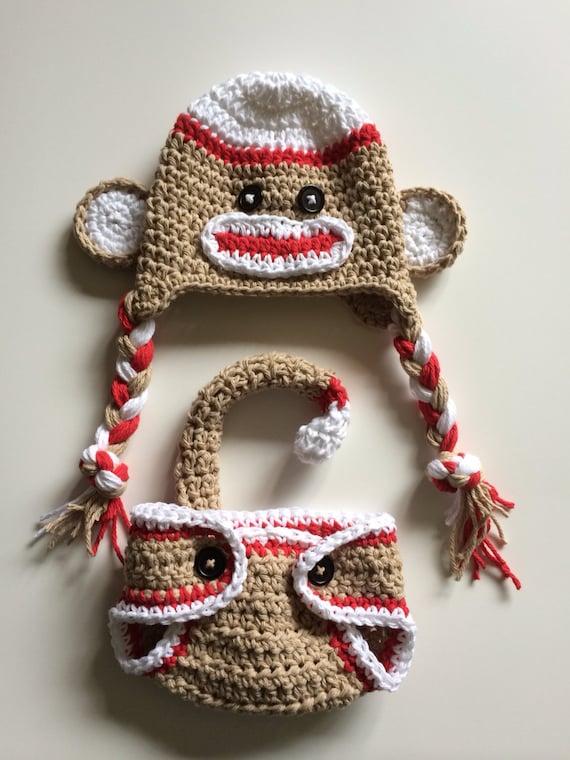 Socke Affe Hut rote sockenaffe Windel-Abdeckung | Etsy