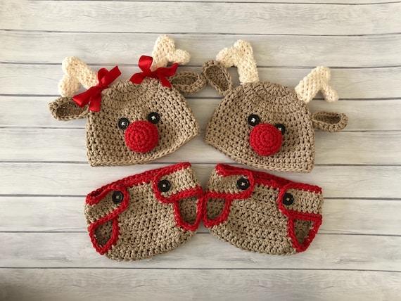 Reindeer hat crochet reindeer hat baby reindeer hat newborn  ee98d1bc159