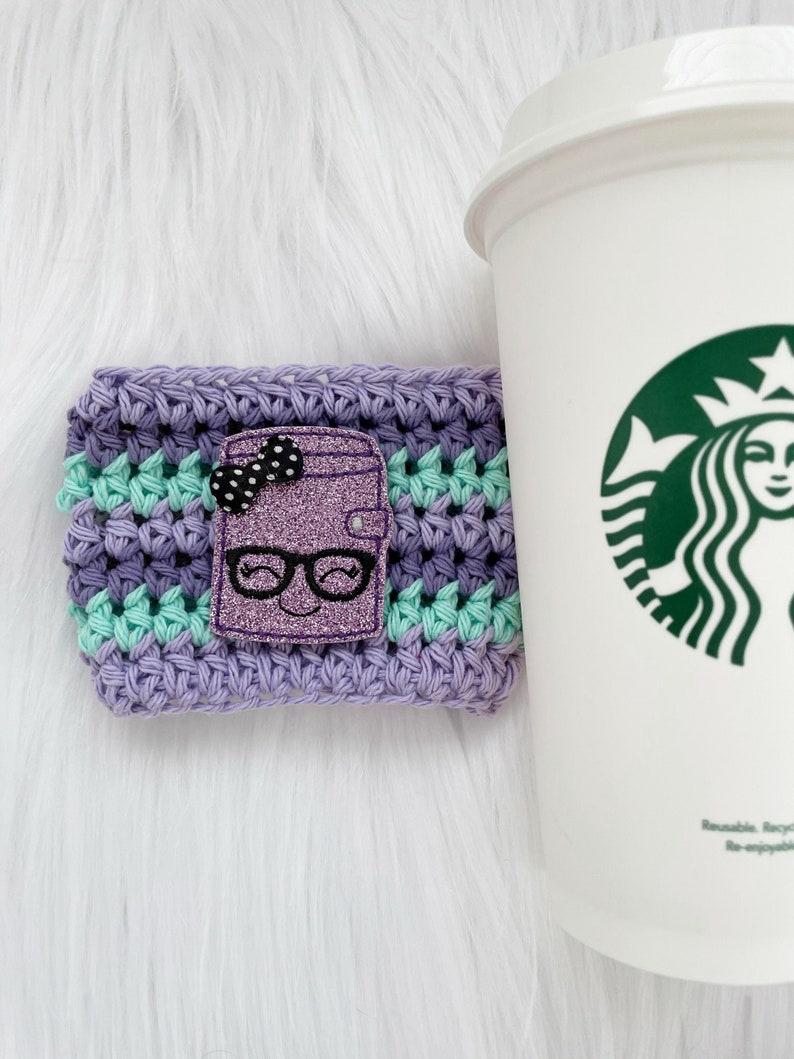 Coffee cup cozy planner accessories crochet cup cozy image 0
