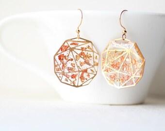 Shimmering Gold Copper Foil - Transparent Resin Geometric Earrings
