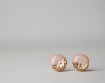 BUY 2 GET 1 FREE Beige Gold Foil Shimmering Stud Earrings
