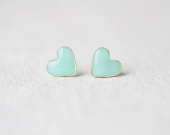 Mint Heart Stud Earrings - Tiny Ear Posts BUY 2 GET 1 FREE
