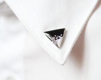 Black Silver Triangle collar brooch - Geometric collar pin - shirt accessoryFREE WORLDWIDE SHIPPING -