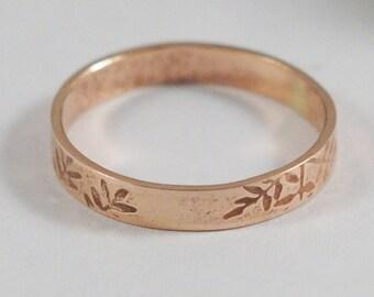 Gold Botanical Wedding Band: A 9ct rose eco gold textured wedding ring band