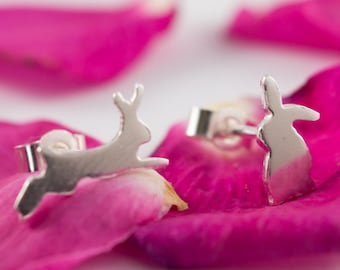 Silver Rabbit earrings: A pair of curious Bunny shaped recycled sterling silver earrings.