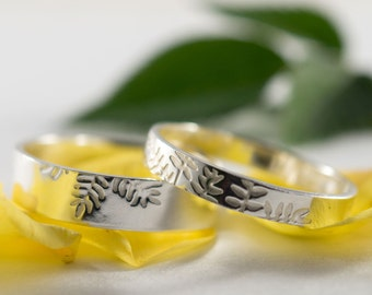 Silver Botanical Wedding Bands: A Set of his and hers Eco Silver wedding rings