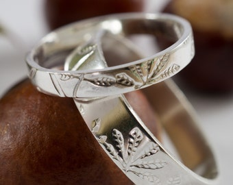 His and His Silver Horse Chestnut Wedding Band: A pair of 5mm wide recycled sterling silver wedding band