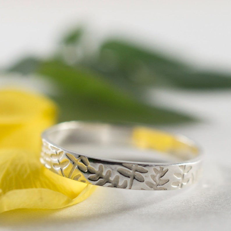 A petite 3mm wide eco silver ash textured wedding band Ash Womans Wedding Band