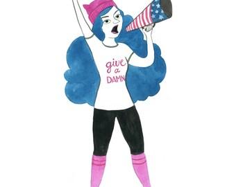 Give A Damn, Women's March 2017 - Giclée Print