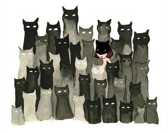 Fake It 'Til You Make It. Cat Illustration - Giclée Print