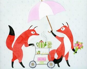 Fox Tea Party - Giclée Print
