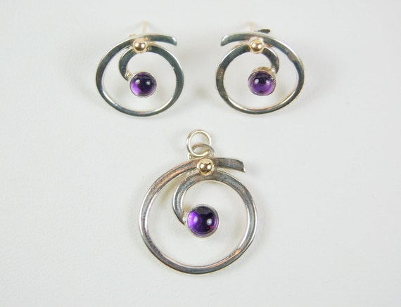 AMETHYST EARRINGS and PENDANT Sterling and Gold Designer Retail 225.00!