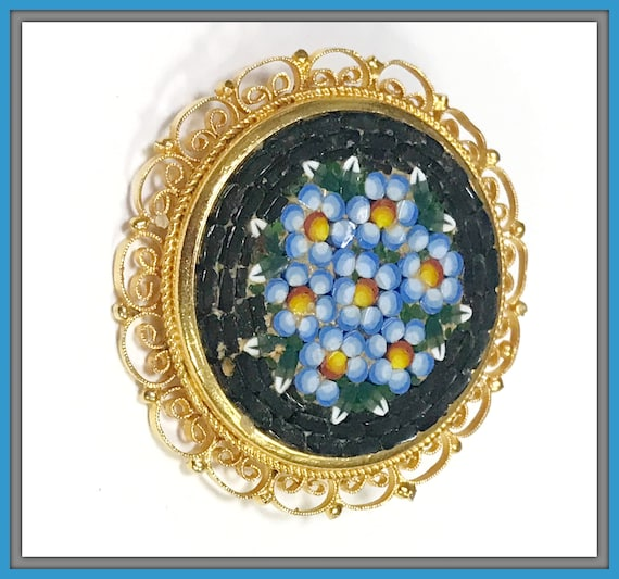 VINTAGE MICRO MOSAIC Floral Pin Brooch Made in ITALy Hand Set Tesserae in Pristine condition!