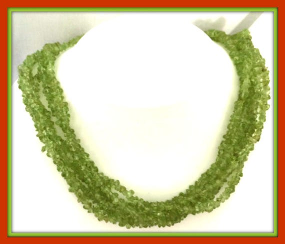 GREEN Fluorite Bead NECKLACE  STERLING Silver Clasp Vintage