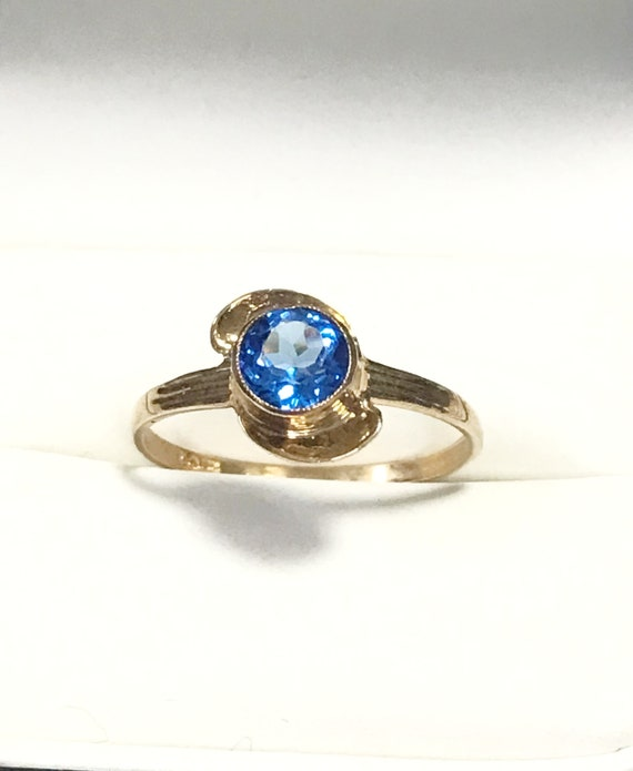 BDA 10k RING Cornflower BLUE Sapphire Glass 1940's Budlong Docherty & Armstrong PRISTINe Condition!