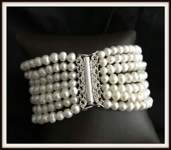 PEARL BRACELET 7 STRAND Freshwater Cultured Sterling Clasp Retail 395.00!