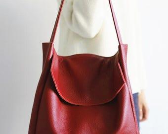 SALE, FOKS FORM Tote Bag 05, Minimal leather tote bag, handbag, shoulder bag, everyday bag