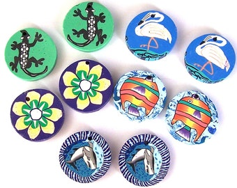 10 top drilled colorful beads, 25mm polymer clay disc beads, poly clay multicolored coin pairs