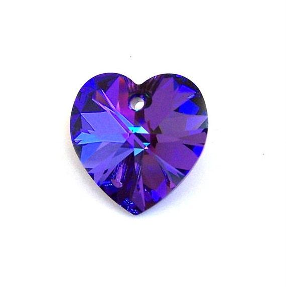 Heliotrope swarovski heart pendant 18mm purple heart crystal etsy image 0 aloadofball Images