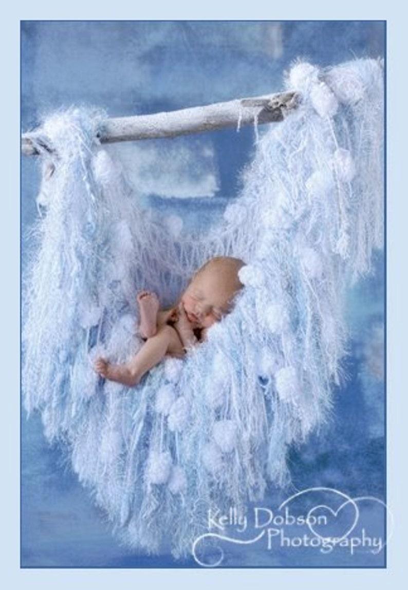 Light Baby Blue Infant Prop Photography Prop Sparkling Fringe White Newborn Prop Hammock Fringe Blanket