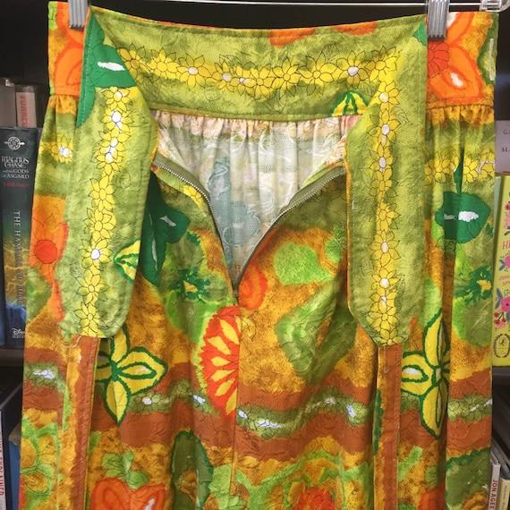 Vintage 60s 70s Handmade Barkcloth Skirt S - image 6