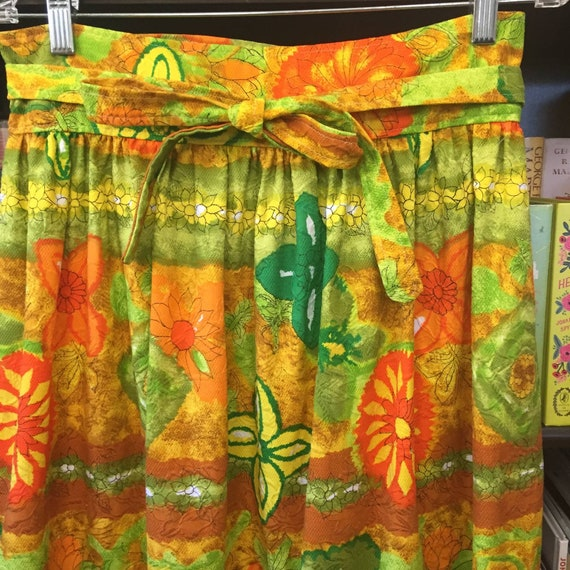 Vintage 60s 70s Handmade Barkcloth Skirt S - image 2