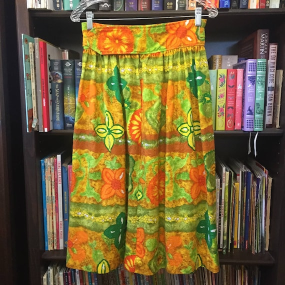 Vintage 60s 70s Handmade Barkcloth Skirt S - image 7