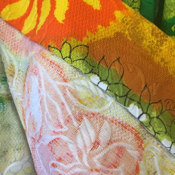 Vintage 60s 70s Handmade Barkcloth Skirt S - image 4