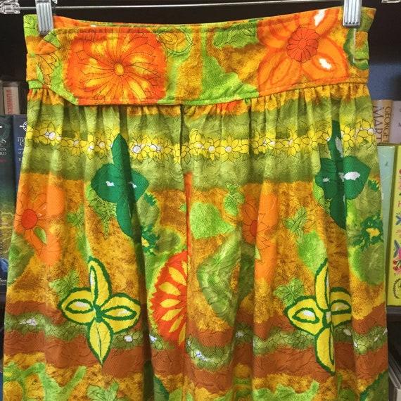 Vintage 60s 70s Handmade Barkcloth Skirt S - image 8