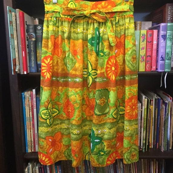 Vintage 60s 70s Handmade Barkcloth Skirt S - image 1