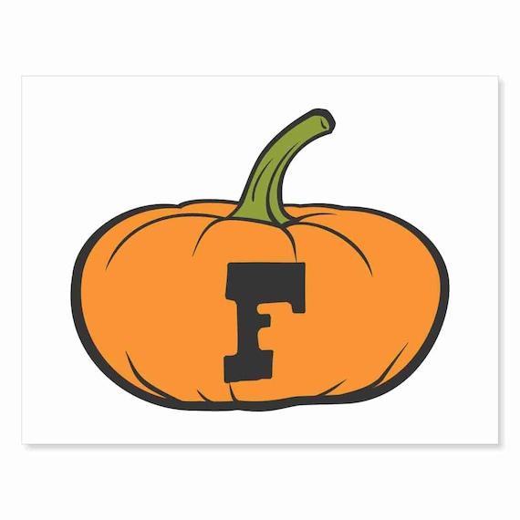 Printable Digital Download DIY - Fall Art Monogram Pumpkin - short F - Print frame or cut out for seasonal Halloween decorating orange black