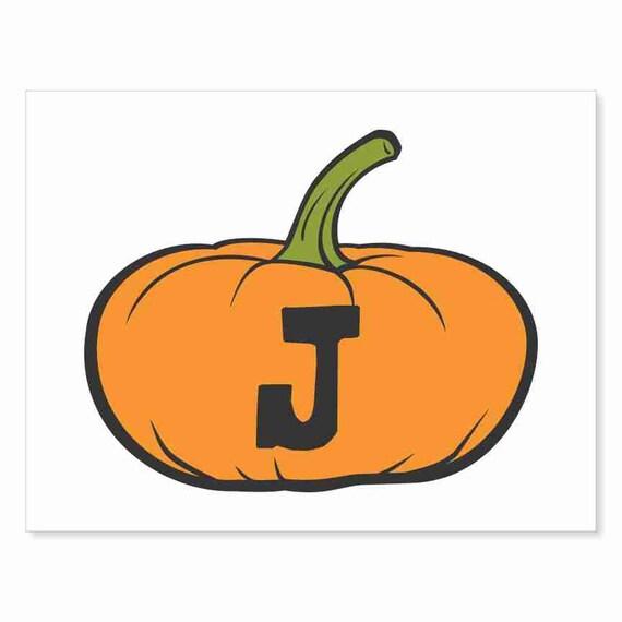 Printable Digital Download DIY - Fall Art Monogram Pumpkin - short J - Print frame or cut out for seasonal Halloween decorating orange black