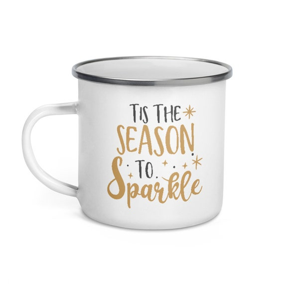 Seasonal Holiday Camp Mug White Enamel with Silver Rim 12 oz Black and Gold Christmas Gift for Campers - Tis the Season to Sparkle