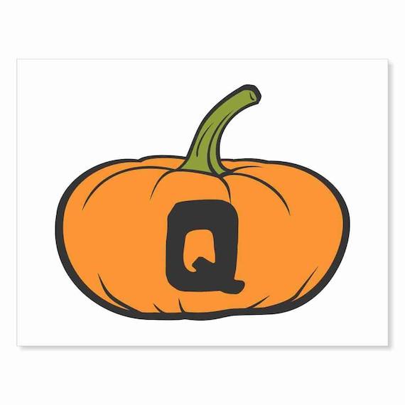 Printable Digital Download DIY - Fall Art Monogram Pumpkin - short Q - Print frame or cut out for seasonal Halloween decorating orange black