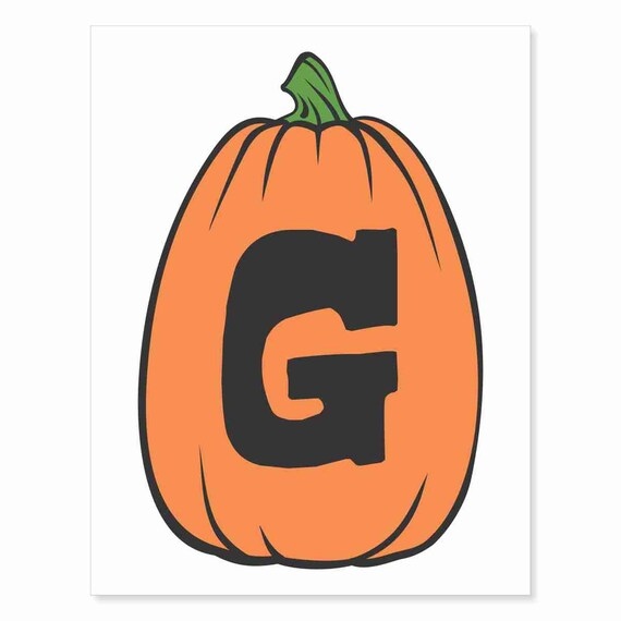 Printable Digital Download DIY - Fall Art Monogram Pumpkin - TALL G - Print frame or cut out for seasonal Halloween decorating orange black