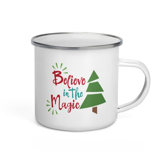 Seasonal Christmas Tree Campers Mug 12 oz White Enamel with Silver Rim Holiday Gift for Camping Enthusiasts - Believe in the Magic