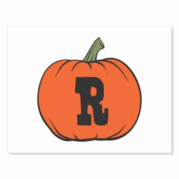 Printable Digital Download DIY - Fall Art Monogram Pumpkin - rOund R - Print frame or cut out for seasonal Halloween decorating orange black