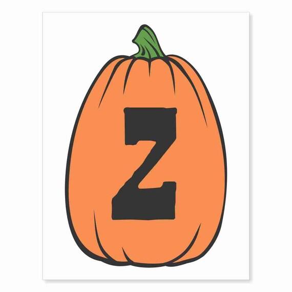 Printable Digital Download DIY - Fall Art Monogram Pumpkin - TALL Z - Print frame or cut out for seasonal Halloween decorating orange black