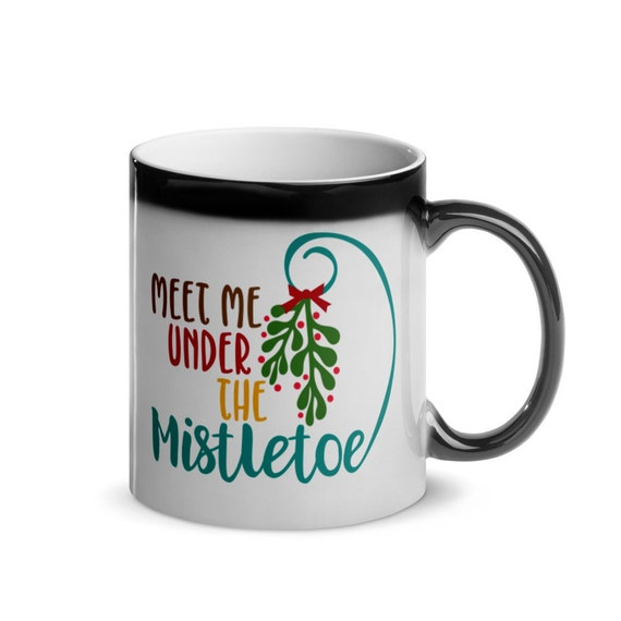 Romantic Holiday Gift Glossy Magic Color Changing Coffee Mug 11 oz Black to White Christmas Gift - Meet Me Under the Mistletoe