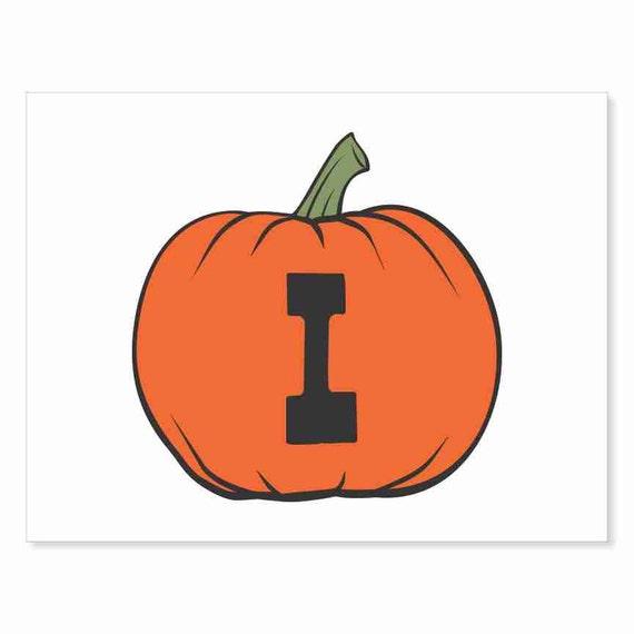 Printable Digital Download DIY - Fall Art Monogram Pumpkin - rOund I - Print frame or cut out for seasonal Halloween decorating orange black