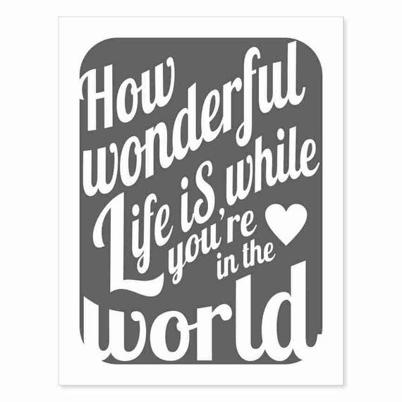 Printable Typography Art Download - How Wonderful Life Is v11 - white on charcoal vintage faded black instant download