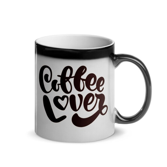 Black to White Color Changing Glossy Ceramic Magic Mug 11 oz Printed Gift Heart Script - Coffee Lover 3