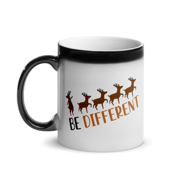 Glossy Magic Color Changing Mug Black to White 11 oz Christmas Reindeer Holiday Gift - Be Different