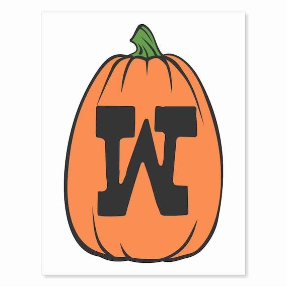 Printable Digital Download DIY - Fall Art Monogram Pumpkin - TALL W - Print frame or cut out for seasonal Halloween decorating orange black