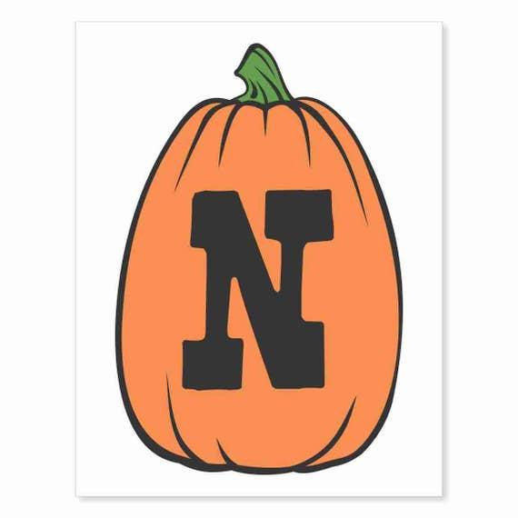 Printable Digital Download DIY - Fall Art Monogram Pumpkin - TALL N - Print frame or cut out for seasonal Halloween decorating orange black