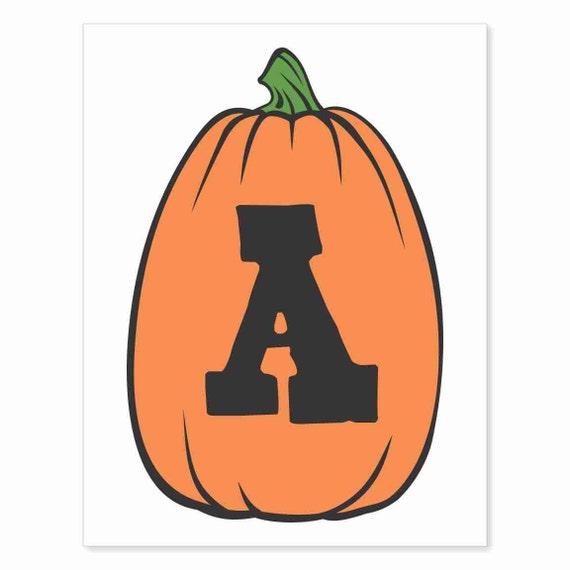 Printable Digital Download DIY - Fall Art Monogram Pumpkin - TALL A - Print frame or cut out for seasonal Halloween decorating orange black