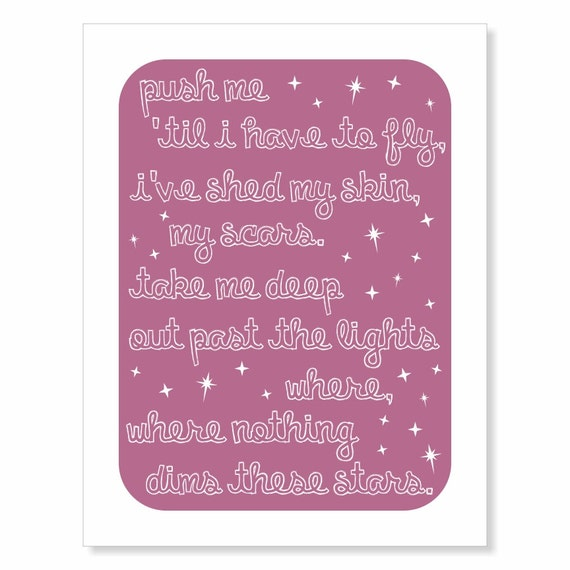 Typography Art Print - These Stars - inspirational custom song lyrics art - white on pretty plum purple starry sky