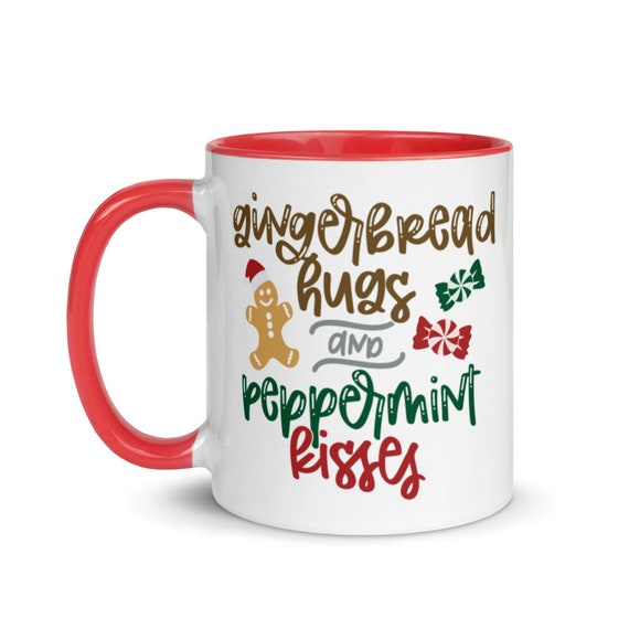 White Glossy Ceramic Holiday Mug with Red or Black Inside and Handle 11 oz Christmas Gift - Gingerbread Hugs and Peppermint Kisses