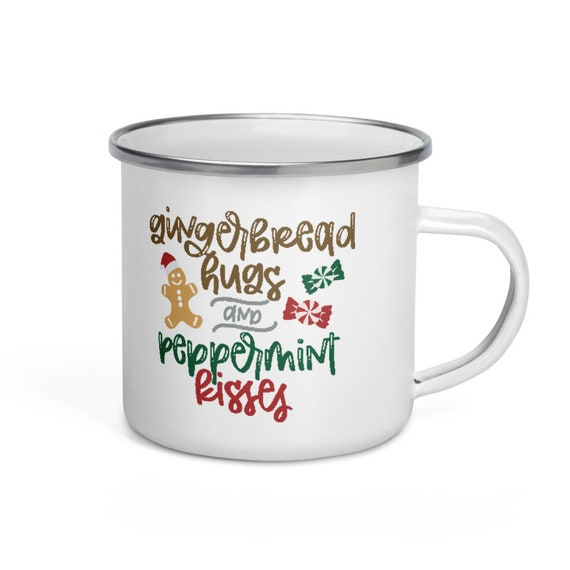 Christmas Camping Mug White Enamel with Silver Rim 12 oz Holiday Gift for Campers - Gingerbread Hugs and Peppermint Kisses
